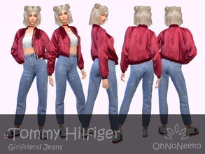 Sims 4 — ONN Tommy Hilfiger Girlfriend Jeans by OhNoNeeko — Tommy Hilfiger Jeans 3D Mesh Custom tumbnail Inspired by the