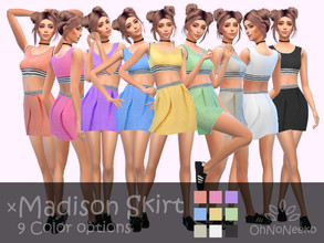 Sims 4 — ONN Madison Skirt by OhNoNeeko — Madison Skirt 3D Mesh Custom tumbnail 9 Color options !!! Top is not included
