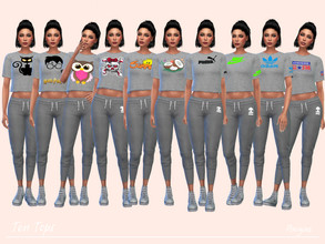 Sims 4 — Ten Tops by Paogae — A short gray melange t-shirt, with ten different prints, can be used for sports or casual