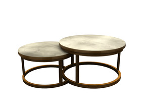 Sims 4 — Kyran Coffee Table by sim_man123 — A chic, modern coffee table, Two round metal frames with marble table tops.