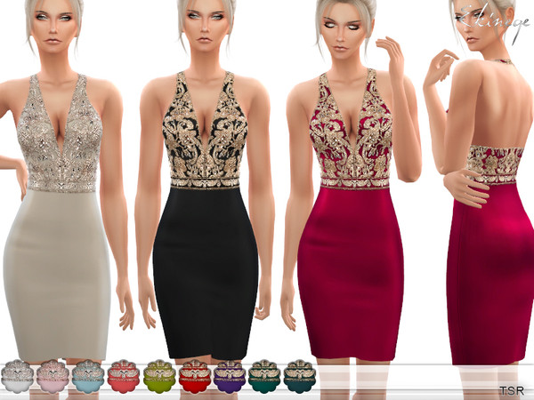The Sims 4- V-Neck Embellished Mini Dress
