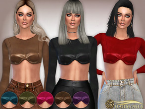 Sims 4 — Vegan Leather Shaped Bust Top by Harmonia — 8 metallic color Please do not use my textures. Please do not