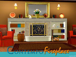 Sims 3 — Contempo Fireplace and Bookcase by Cashcraft — It's a contemporary Sims 3 set, which features a fireplace and