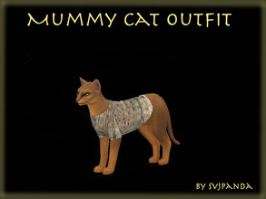 Sims 4 — Ancient Egyptian Mummy Cat Outfit by Svjpanda — This is an outfit for cats :) There are 4 swatches