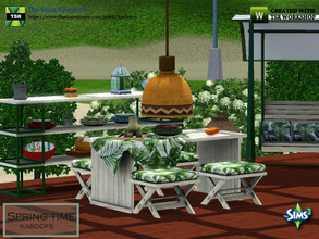 Sims 3 — kardofe_Spring time by kardofe — Set of garden, with sofa, armchairs, table and stools, swing with cushions and