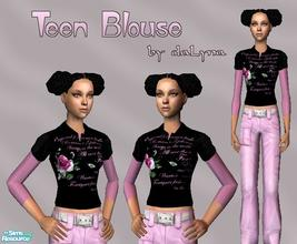 Sims 2 — Black & Pink Blouse  by daLyna — Teen Blouse ..:: Enjoy! ::..