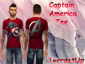 Sims 4 — Captain America Tee (6 Colors!) by TerraItUp — Captain America Tee (6 Colors!) How to Install: 1. Download the