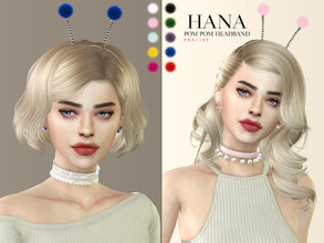 Sims 4 — Hana Pom Pom Headband by Pralinesims — Headband in 10 colors.