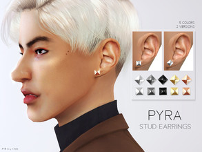 Sims 4 — Pyra Stud Earrings by Pralinesims — Earrings in 5 colors, 2 versions.
