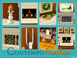Sims 3 — Contempo Fireplace Part II by Cashcraft — Contempo Fireplace Part II includes 8 new decorative accent pieces for