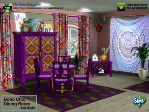 Sims 3 — kardofe_Boho Chic Dining Room_ by kardofe — Dining room with table, chairs, sideboard, curtains, wall tapestry,
