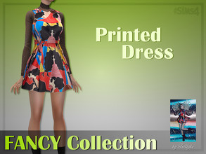 Sims 4 — Trillyke - Printed Dress (FANCY Collection) by Trillyke — Inspired by TWICE's Dahyun. - 1 swatch - Edited EA