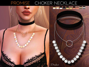 Sims 4 — Promise Choker Necklace by Pralinesims — Medaillon choker necklace in 10 colors.