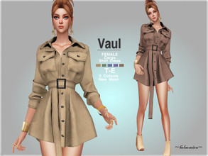 Sims 4 — VAUL - Cargo Shirt Dress (Updated) by Helsoseira — Style : Industrial utility cargo shirt dress with pockets and