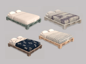 Sims 4 — Bedroom Mira - Bed Double by ung999 — Bedroom Mira - Bed Double Color Options : 4