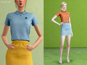 Sims 4 — ChloeM-Polo shirt FM by ChloeMMM — **12 colors ** New mesh by me. ** Recolor is allowed but PLEASE DO NOT