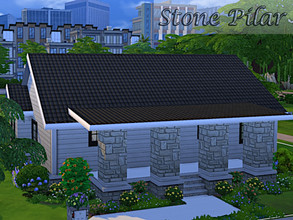 Sims 4 — Stone Pilar Lot by oumamea — Cozy residential house with 2 bedrooms 2 bathroom and a large basement used as