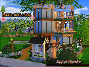 Sims 4 —  Modern Tree House by Tontin2018 — A tree house, where your sims can feel in the forest, but at the same time