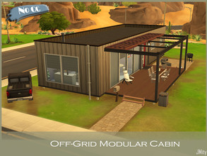 Sims 4 — Off-Grid Modular Cabin by JMity — From the rear it may look like an inconspicuous shed, but, walking from the