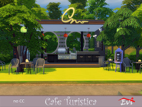 Sims 4 — Cafe Turistica by evi — In the middle of nowhere this small and eco cafe is as popular as no other. You can meet