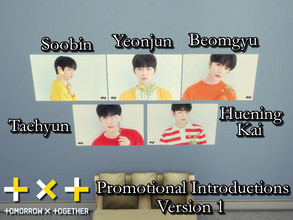 Sims 4 — TXT Promotional Posters V1 REQUIRES GET TO WORK by PhoenixTsukino — Set of horizontal posters of K-Pop idol boy