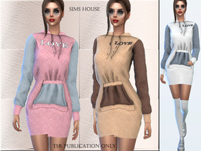 Sims 4 — Dress with a hood by Sims_House — Dress with a hood 12 color options. Dresses echo colors from the Men's two-ton