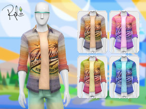 Sims 4 — Aloha Shirt by RobertaPLobo — :: 4 swatches. :: Adult, Teen, Young Adult and Elder. :: Occult: Human. :: Found