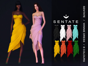 Sims 4 — Winnie Dress by Sentate — A elegant bustier wrap dress with aysmmetric hem (my favourite!). Comes in 8 colours.