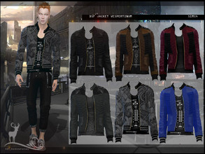 Sims 4 — DSF JACKET VESPERTINUM by DanSimsFantasy — This design combines leather and cotton. 12 color samples Age: