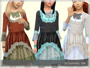 Sims 4 — Dress Boho by bukovka — Dress in the style of boho for girls. Installed autonomously, the new mesh is turned on.