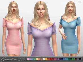 Sims 4 — Clementine Dress by Sifix2 — - New mesh - Base game compatible - 24 colors Thanks to all the CC creators whose