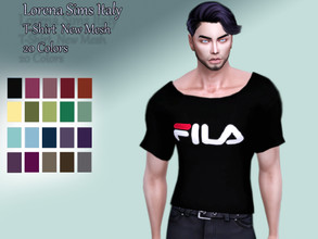 Sims 4 — t-shirt fil.a by LorenaSimsItaly — new mesh available in 20 colors