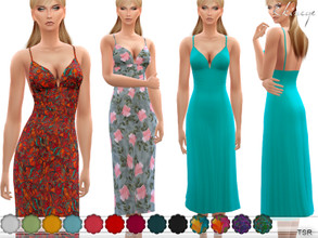 Sims 4 — Cami Midi Dress by ekinege — A cami midi dress featuring a V-neck, cami straps, banded waist, smocked back