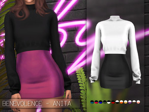 Sims 4 — Benevolence - Alita Dress by Benevolence-c — - 12 dress swatches - 19 separate sweater swatches (Found in