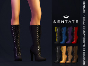 Sims 4 — Bella Combat Boot by Sentate — A edgy pair of high heeled lace up boots that come up just below the knee. I