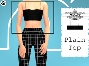 Sims 4 — Regular Black Croptop by MsBeary — Enjoy this simple croptop! top piece to the Black and White Square Outfit