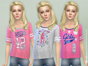 Sims 4 — Sporty Tee for Girls by lillka — Sporty Tee for Girls 3 styles YOU NEED Get Together