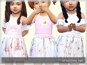 Sims 4 — Daisy Dress  by bukovka — Dress for babies. Set independently, the new mesh mine included. Suitable for the base