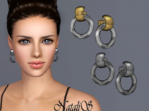 Sims 3 — NataliS  Double Ring Drop Earrings  by Natalis —  Double ring drop earrings. FT-FA-FE 4 colors.