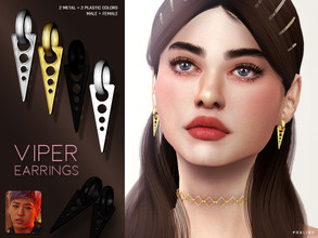 Sims 4 — Viper Earrings by Pralinesims — Earrings in 4 colors, inspired by B.A.P's Yongguk