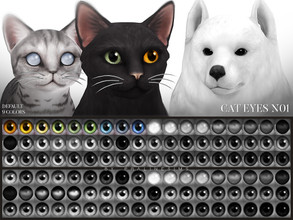 Sims 4 — Cat Eyes N01 Default Replacement by Pralinesims — Cat eyes in 9 colors, replaces the default eyes and comes with