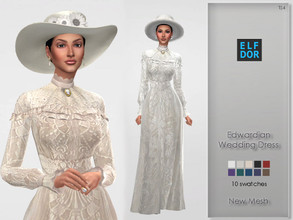 Sims 4 — Edwardian Wedding Dress by Elfdor — - 10 swatches - new mesh - everyday, formal, party - teen to elder - base