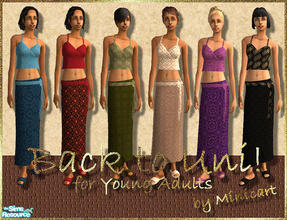 Sims 2 — Back to Uni! by minicart — Set of six colourful outfits in green, blue, red, beige, purple and black for every