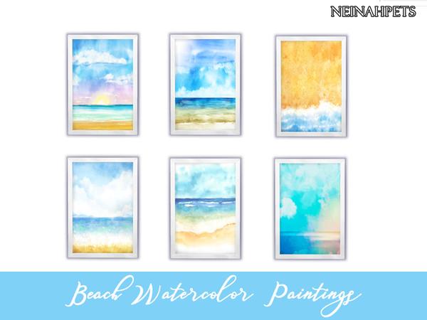 Beach Watercolor Paintings Pt I - Die Sims 4 Download
