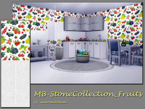 Sims 4 — MB-StoneCollection_Fruits by matomibotaki — MB-StoneCollection_Fruits, fresh tile wall with upper wallpaper part