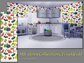 Sims 4 — MB-StoneCollection_FruitsFull by matomibotaki — MB-StoneCollection_FruitsFull, fresh wall with full wallpaper