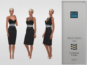 Sims 4 — Black Dress Set by Elfdor — - 9 swatches - 3 dresses - 3 styles - new mesh - everyday, formal, party - teen to