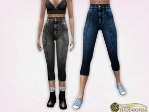 Sims 3 — High Waisted Skinny Capris Jeans by Harmonia — 5 color. recolorable Please do not use my textures. Please do not