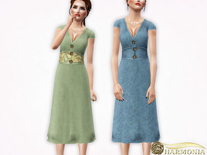Sims 3 — Metallic Button Front Maxi Dress by Harmonia — 3 color. recolorable Please do not use my textures. Please do not