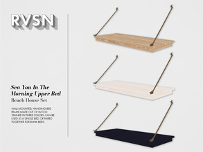 Sims 4 — Sea You In The Morning Upper Bed Frame by RAVASHEEN — Wall-mounted, hanging bed frame made out of wood that is